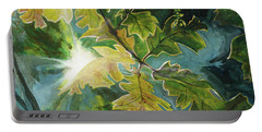 Sun Through Oak Leaves Portable Battery Charger