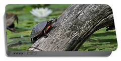 Portable Battery Charger featuring the photograph Turtle Sunbathing by Glenn Gordon
