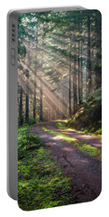 Sunbeam In Trees Portrait Portable Battery Charger