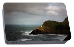 Portable Battery Charger featuring the photograph Sunbeam On The Lighthouse by Mary Jo Allen