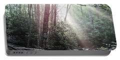 Sunbeam Streaming Into The Forest Portable Battery Charger