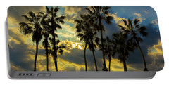 Portable Battery Charger featuring the photograph Sunbeams And Palm Trees By Cabrillo Beach by Randall Nyhof