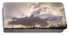 Sunbeams Over Church In Color Portable Battery Charger by Nicholas Burningham