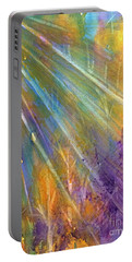 Portable Battery Charger featuring the painting Sunburst Through The Forest Abstract  by Ellen Levinson
