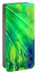 Portable Battery Charger featuring the painting Radiant Green Sunburst Forest  by Ellen Levinson