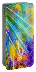 Portable Battery Charger featuring the painting Psychedelic Forest Sunburst  by Ellen Levinson