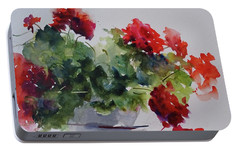 Portable Battery Charger featuring the painting Sunday Morning Geraniums by Sandra Strohschein