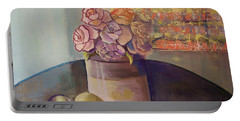 Portable Battery Charger featuring the painting Sunday Morning Roses Through The Looking Glass by Marlene Book
