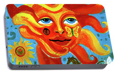 Portable Battery Charger featuring the painting Sunface With Butterfly And Horse by Genevieve Esson