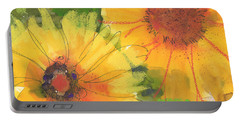 Big Sunflowers Watercolor And Pastel Painting Sf018 By Kmcelwaine Portable Battery Charger
