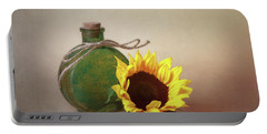 Sunflower And Green Glass Still Life Portable Battery Charger