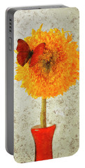 Sunflower And Red Butterfly Portable Battery Charger