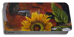 Sunflower And Violin Portable Battery Charger