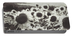 Portable Battery Charger featuring the photograph Sunflower Black And White 1 by Andrea Anderegg