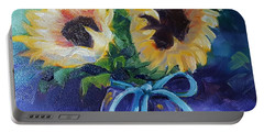 Portable Battery Charger featuring the painting Sunflower/clear Jar by Judy Fischer Walton