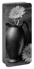 Sunflower In Pitcher Black And White Portable Battery Charger