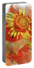 Sunflower In Red Portable Battery Charger