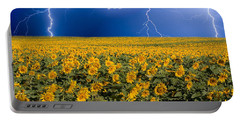 Sunflower Lightning Field  Portable Battery Charger by James BO  Insogna