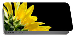 Sunflower On Black Portable Battery Charger