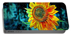 Portable Battery Charger featuring the digital art Sunflower Rain by Pennie McCracken