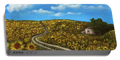 Portable Battery Charger featuring the painting Sunflower Road by Anastasiya Malakhova
