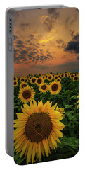 Portable Battery Charger featuring the photograph Sunflower Sunset  by Aaron J Groen