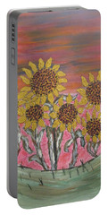 Sunflower Sunset Portable Battery Charger by Sharyn Winters