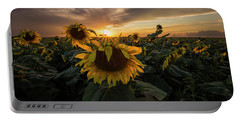 Portable Battery Charger featuring the photograph Sunflower Sunstar  by Aaron J Groen