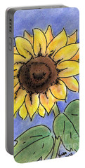 Portable Battery Charger featuring the drawing Sunflower by Vonda Lawson-Rosa