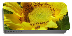 Sunflower With Honeybee Portable Battery Charger