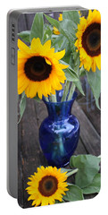 Sunflowers And Blue Vase - Still Life Portable Battery Charger by Dora Sofia Caputo Photographic Art and Design