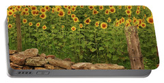 Sunflowers And Fence   Portable Battery Charger