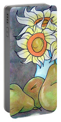 Sunflowers And Pears Portable Battery Charger by Loretta Nash