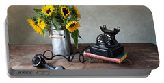Sunflowers And Phone Portable Battery Charger by Nailia Schwarz