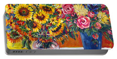 Sunflowers And Plums Portable Battery Charger