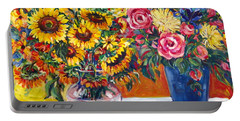Sunflowers And Plums Portable Battery Charger by Alexandra Maria Ethlyn Cheshire
