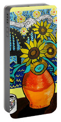 Sunflowers And Starry Memphis Nights Portable Battery Charger
