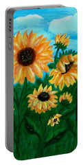 Portable Battery Charger featuring the painting Sunflowers For Mom by Sonya Nancy Capling-Bacle