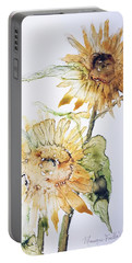 Portable Battery Charger featuring the painting Sunflowers II Uncropped by Monique Faella