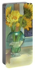 Portable Battery Charger featuring the painting Sunflowers In A Glass Vase Number Three by Marlene Book