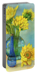 Portable Battery Charger featuring the painting Sunflowers In A Glass Vase Number Two by Marlene Book