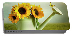 Sunflowers In A Watering Can Portable Battery Charger