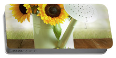Sunflowers In An Old Watering Can Portable Battery Charger