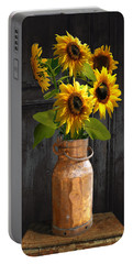 Sunflowers In Copper Milk Can Portable Battery Charger
