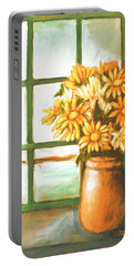 Portable Battery Charger featuring the painting Sunflowers In Window by Winsome Gunning