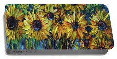 Sunflowers In A Vase Palette Knife Painting Portable Battery Charger