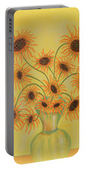 Portable Battery Charger featuring the painting Sunflowers by Marie Schwarzer