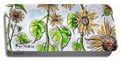Portable Battery Charger featuring the painting Sunflowers by Monique Faella