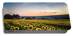 Sunflowers, Moon And Stars Portable Battery Charger by Eduard Moldoveanu