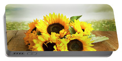 Sunflowers On A Table Portable Battery Charger